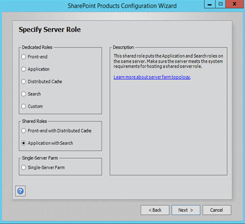 SharePoint 2016 Configuration Wizard Server Role