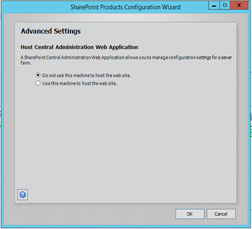 SharePoint 2016 Product Configuration Wizard Advance Settings