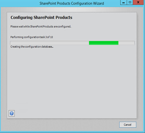 SharePoint 2016 Product Configuration Wizard in process