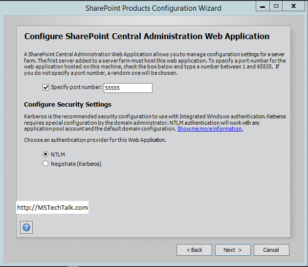 SharePoint Server 2016 - Configuration Central Administration Web Application