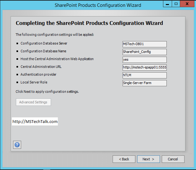 SharePoint Server 2016 - Configuration Wizard Completed