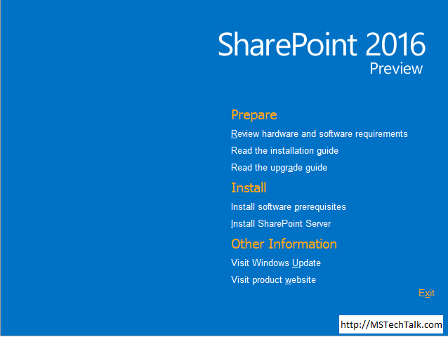 SharePoint Server 2016 - Installation Screen