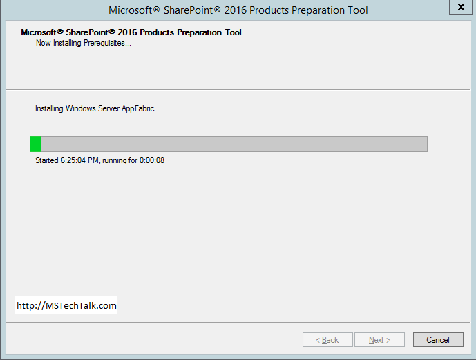 SharePoint Server 2016 - Preparation Tool install wizard