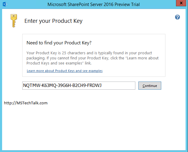SharePoint Server 2016 - Product Key