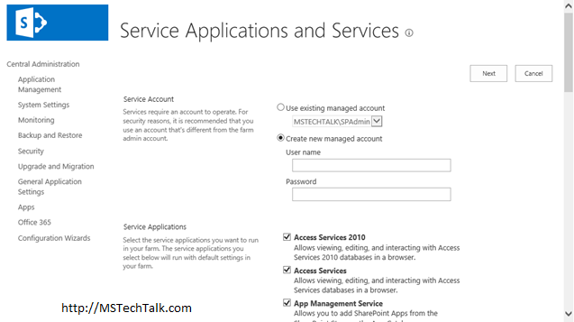 SharePoint Server 2016 - Service Configuration Wizard Page