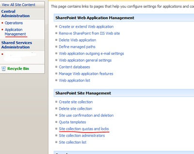 Configure Quotas and Locks - SharePoint 2007