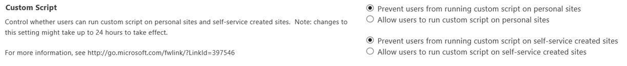 Office 365 SharePoint Custom Script