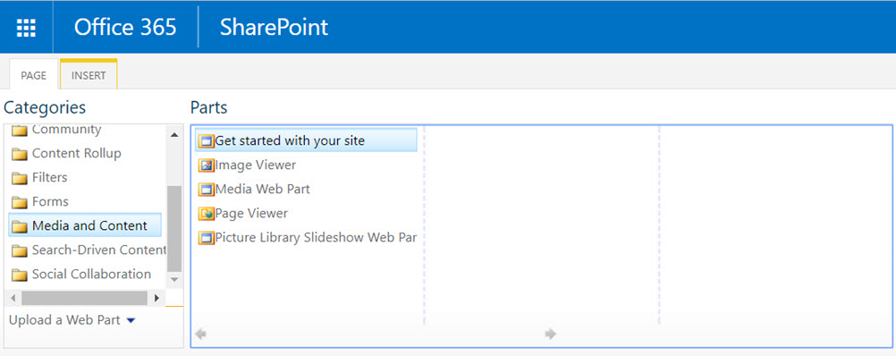 Office 365 missing web parts