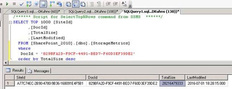 SQL Server Storage Metrics