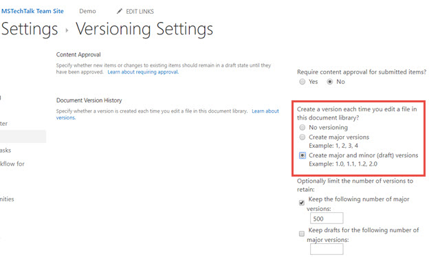 SharePoint Document Library Version setting