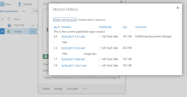 SharePoint Document version history
