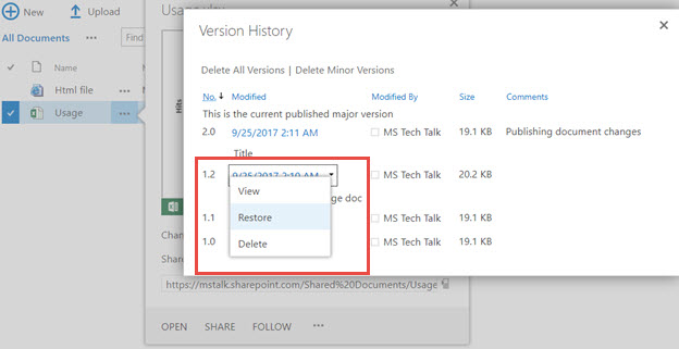 SharePoint restore older version