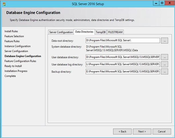 SQL Server 2016 - Data Directories