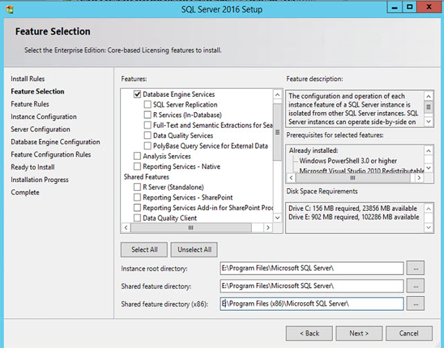 SQL Server 2016 - Feature Selection