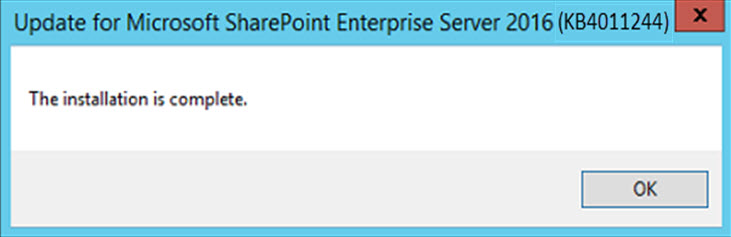SharePoint 2016 Feature Pack 2 Installation Completed