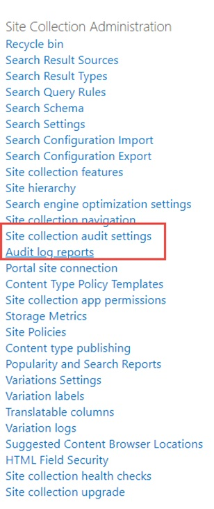 SharePoint audit log