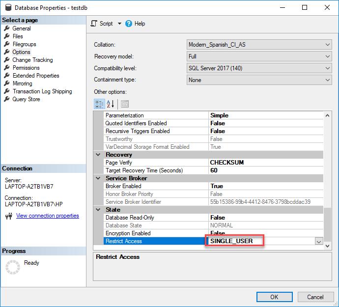 SQL Database in Single User Mode