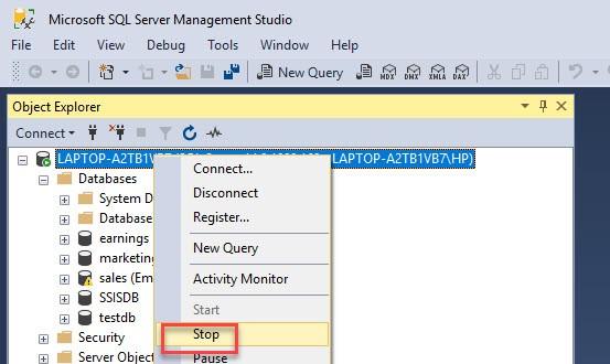Stop SQL Server