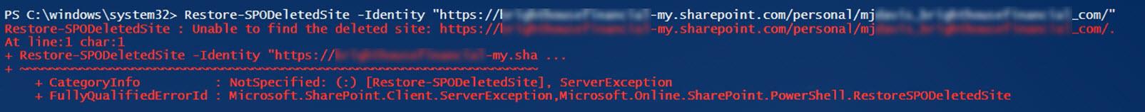 Restore deleted OneDrive error