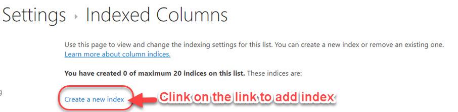 SharePoint add list indexed columns