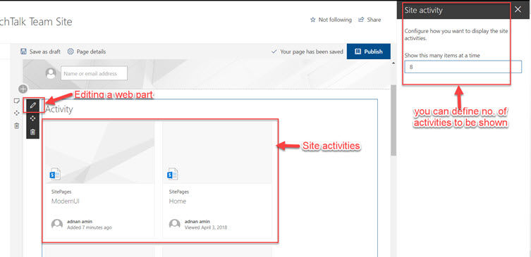 Sharepoint edit activity web part