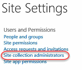 Site settings administrative access