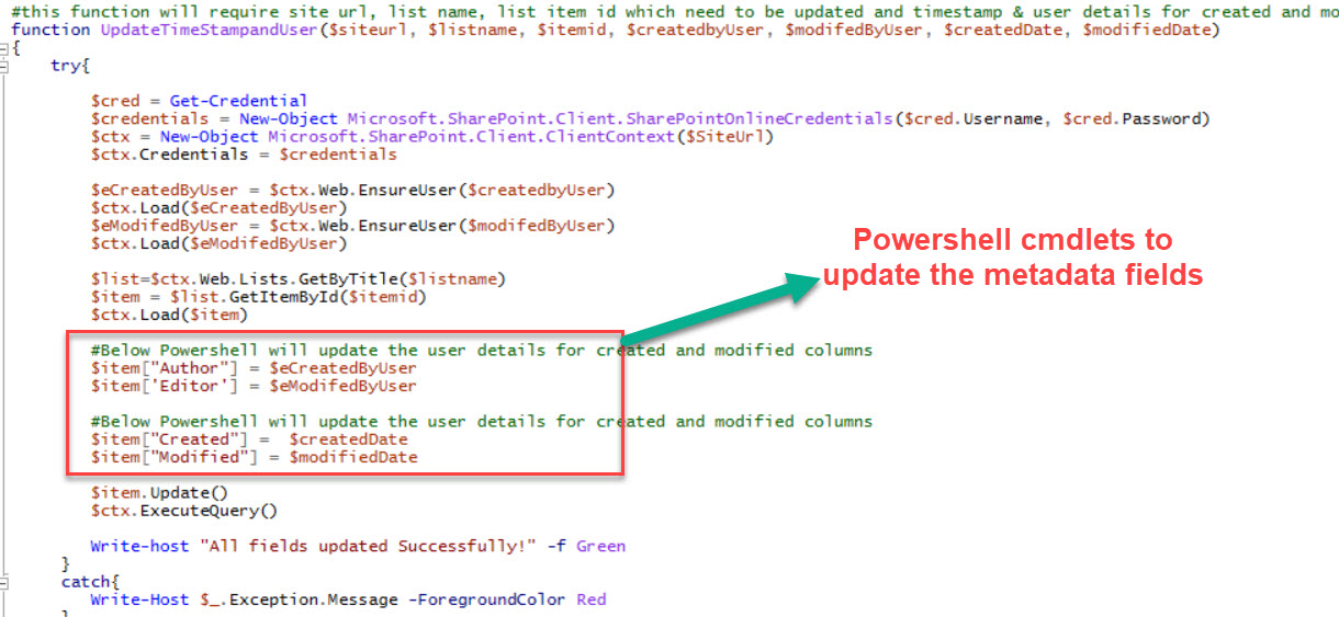 You are currently viewing Update Created, Created by, Modified & Modified fields using SharePoint Online Powershell